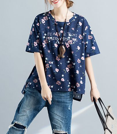 Floral Print Casual O- Neck T Shirt - Hautify