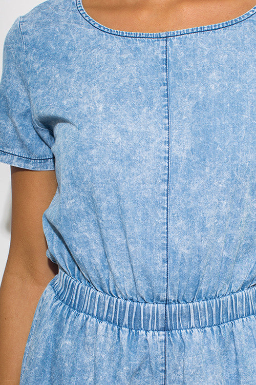 Light Blue Acid Washed Romper Jumpsuit - Hautify