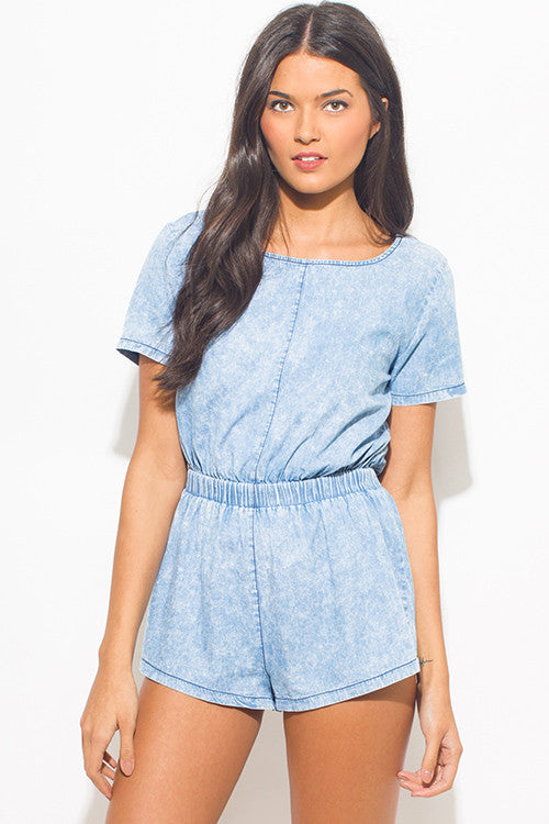 Light Blue Acid Washed Romper Jumpsuit