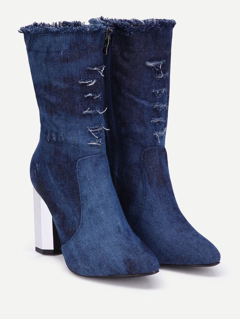 Distressed Detail Block Heeled Womens Boots - Hautify