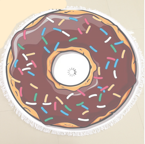 Chocolate Donut Sunbathe Round Beach Towel