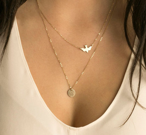 Dove and Disc Charm Multi Layered Necklace - Hautify