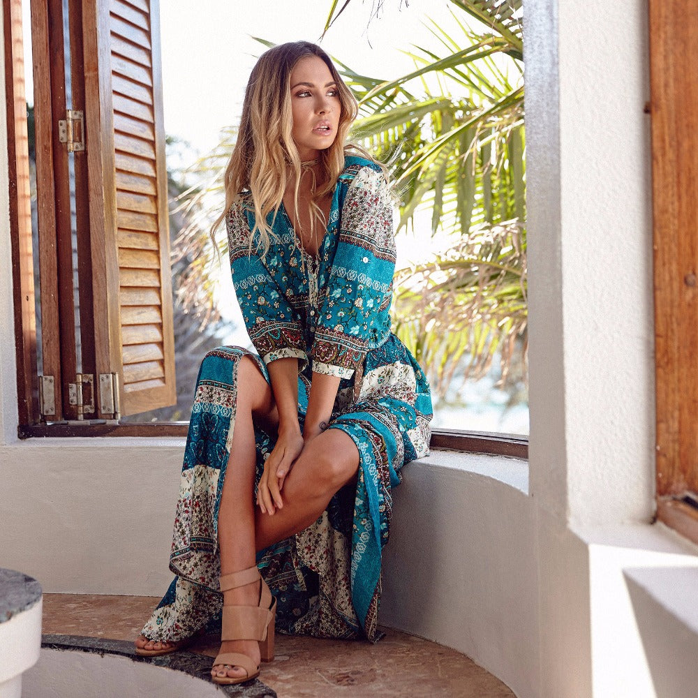 Tahiti  Boho  Ethnic Maxi Dress