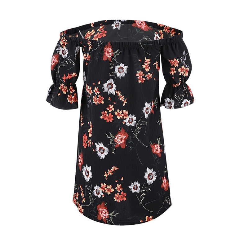 Chic Flair Off Shoulder Floral Dress Buttoned Down - Hautify