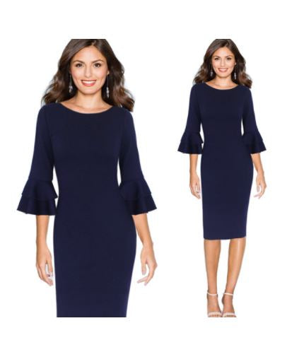 Ruffled Quarter Sleeve Bodycon Dress S - 5XL - Hautify