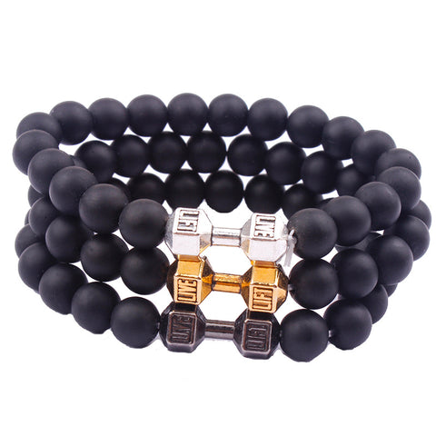 Matte Stone Dumbbell Charm Motivational Bracelet - Hautify
