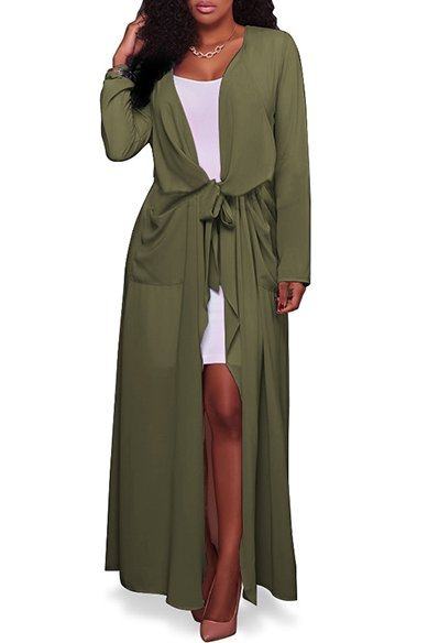 Womens Solid Long Chiffon Coat