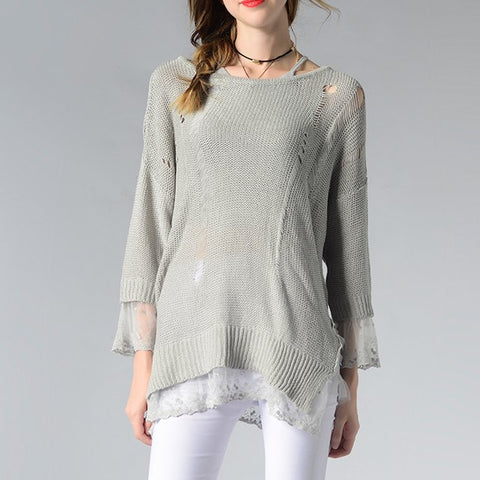 See-through Lace Pullover One Size  Knit Sweater - Hautify