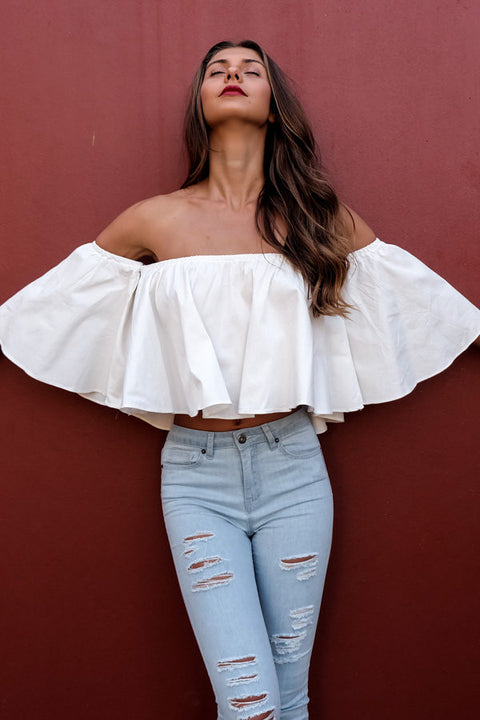 Batwing Off Shoulder Womens Blouse White - Hautify