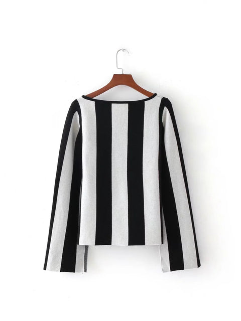 Vertical Stripes Long Sleeve Sweater - Hautify