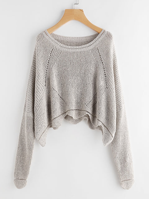 Scallop Hem Hollow Out Womens Grey Sweater - Hautify