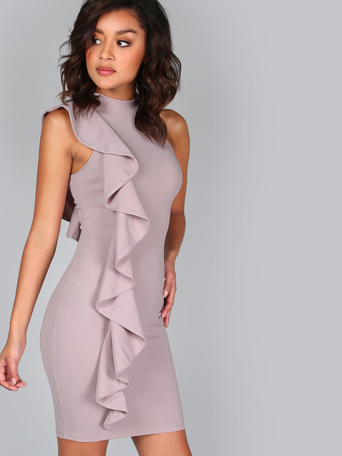 One Sided Exaggerated Frill Bodycon Dress - Hautify
