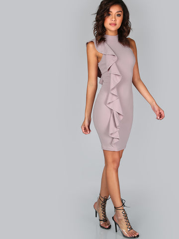 One Sided Exaggerated Frill Bodycon Dress