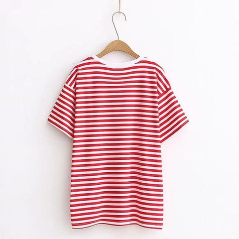 Thin Striped Cotton Tee Shirt One Size