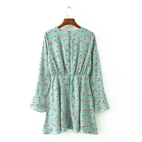 Print Lace European Style Long Sleeve Dresses
