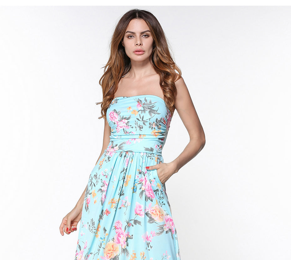 Strapless Floral Print Maxi Dress Hautify