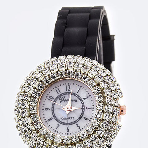 Black Sash Crystal Bezel Women Fashion Watch - Hautify