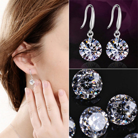 Fashion Drop Hook Dangle Cubic Zirconia Sterling Silver Earring Drops Earrings