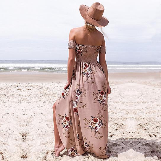 Floral Print Boho Off Shoulder Beach Summer Maxi Dress Chiffon - Hautify
