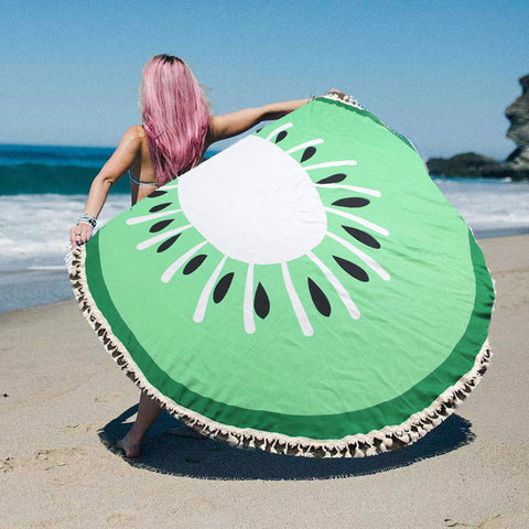Round Beach Blanket & Shawl With Tassels