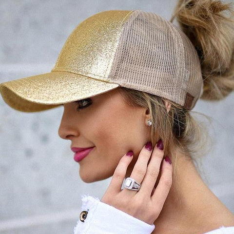 Glittered Messy Bun Ponytail Snapback Baseball Cap - Hautify