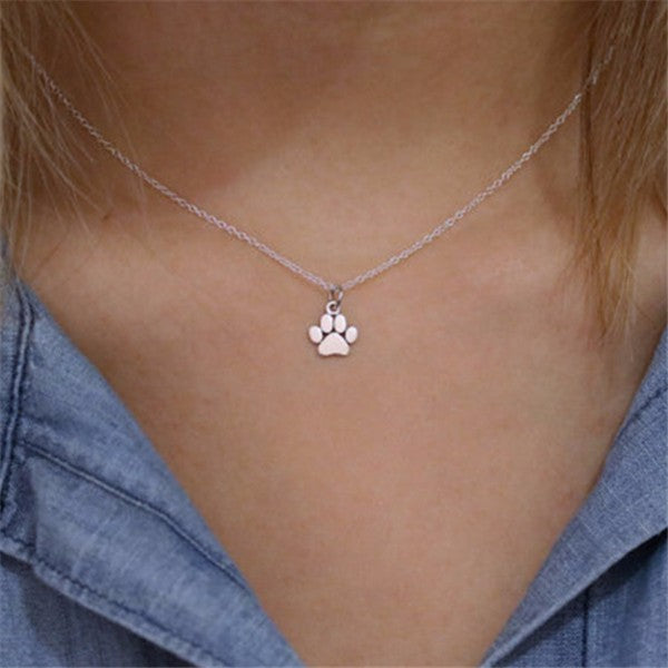 Cute Paw Print Pendant Necklace