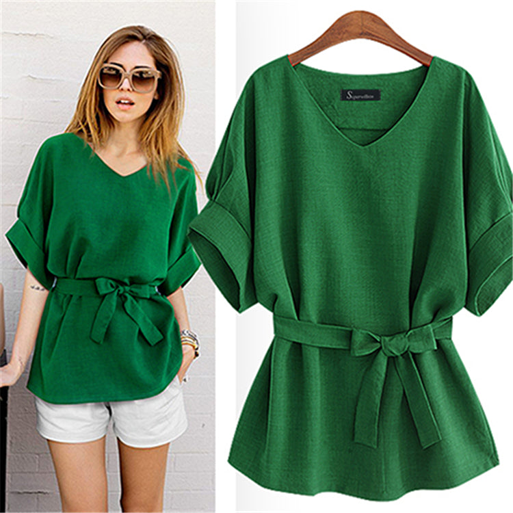 Kimono Style Loose Shirts V Neck Bow Tie Blouse Plus Size - Hautify