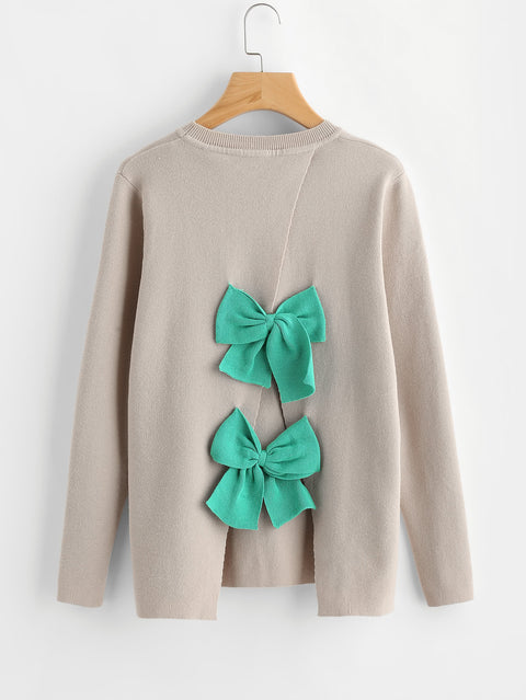 Grey Jumper Womens With Green Bows On The Back - Hautify