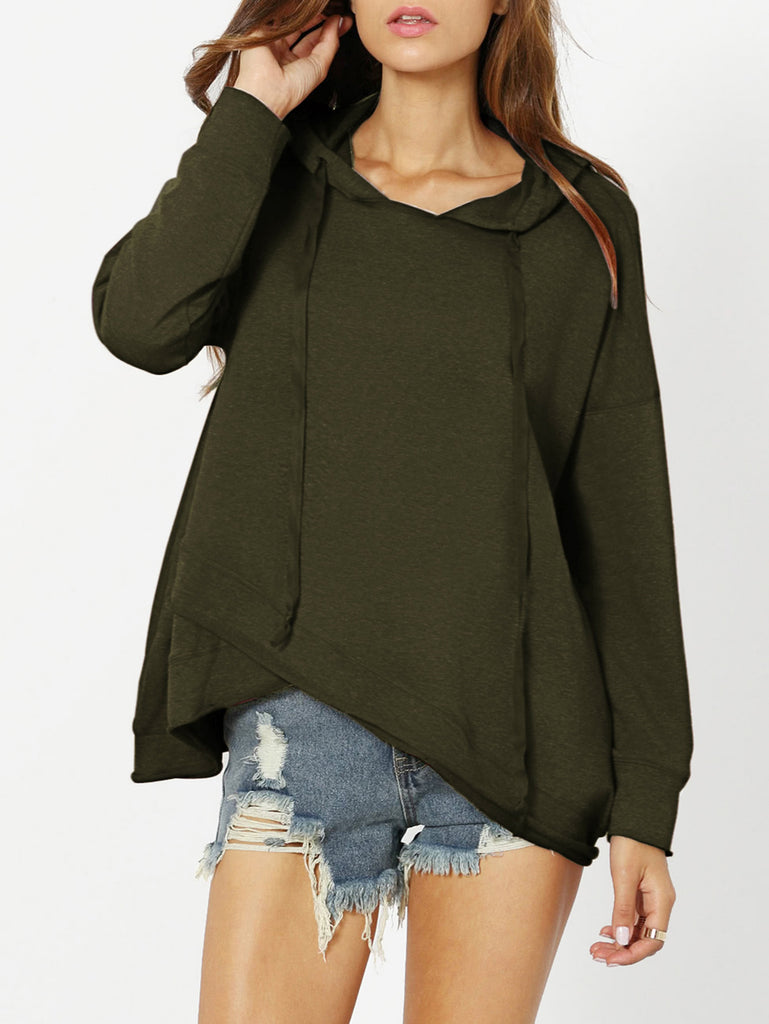 Long Sleeve Dropped Shoulder Drawstring Women Hoodie - Hautify