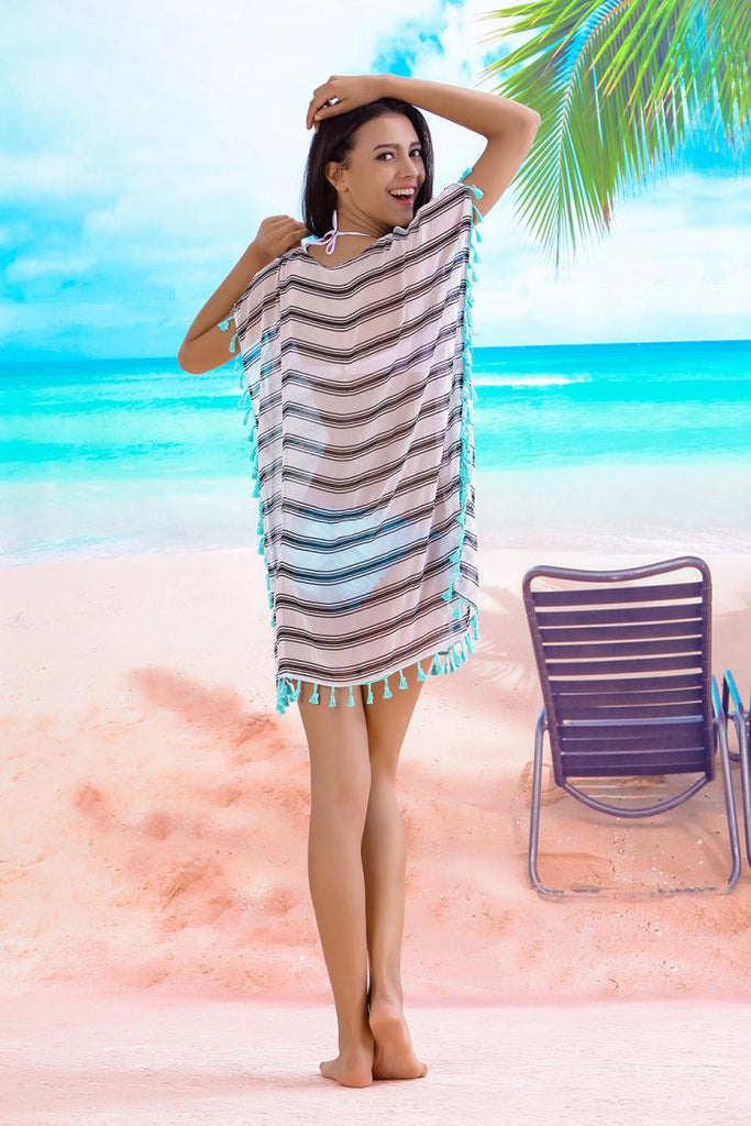 Striped & Tassel Beach Cover Up - Hautify