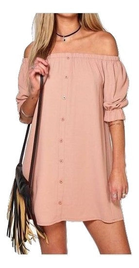 MC  Off Shoulder Buttoned Down Trendy Dress - Hautify