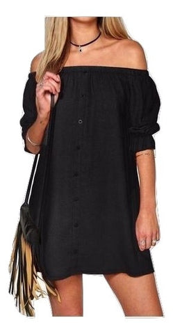 MC  Off Shoulder Buttoned Down Trendy Dress