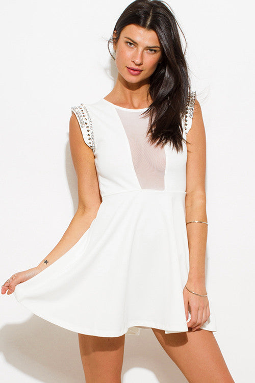 Ivory Skater Cocktail Party Mini Dress - Hautify