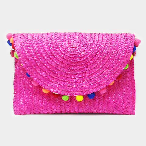 Semi Circle Pom Pom Straw Clutch Bag With Chain Strap - Hautify