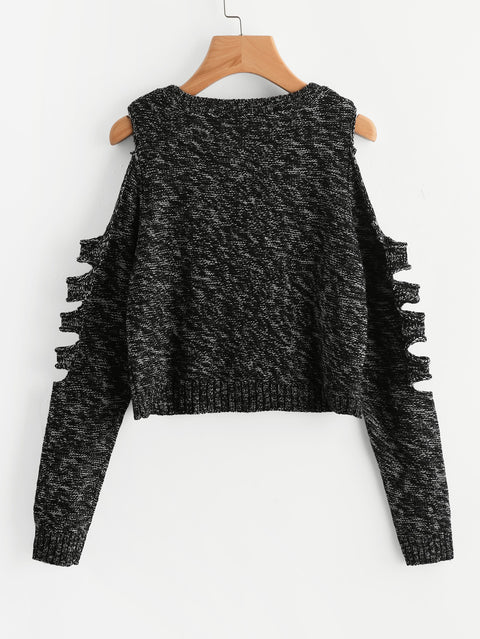 Ladder Cutout Sleeve Marled Knitwear - Hautify
