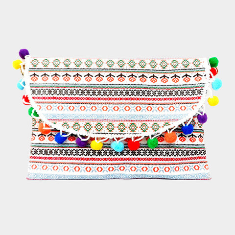 Semi Circle Pom Pom Wristlet Clutch Bag With Straps - Hautify