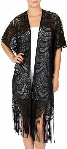 Scalloped Lace Cardigan With Fringe - Hautify