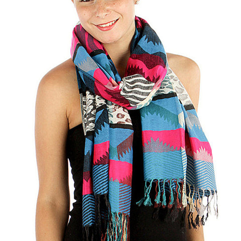Colorful Tribal Print Womens Pashmina Blue - Hautify