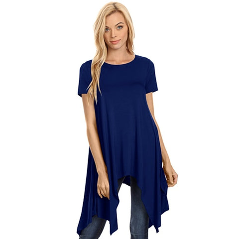 Loose Fit Dress Top Navy Blue - Hautify