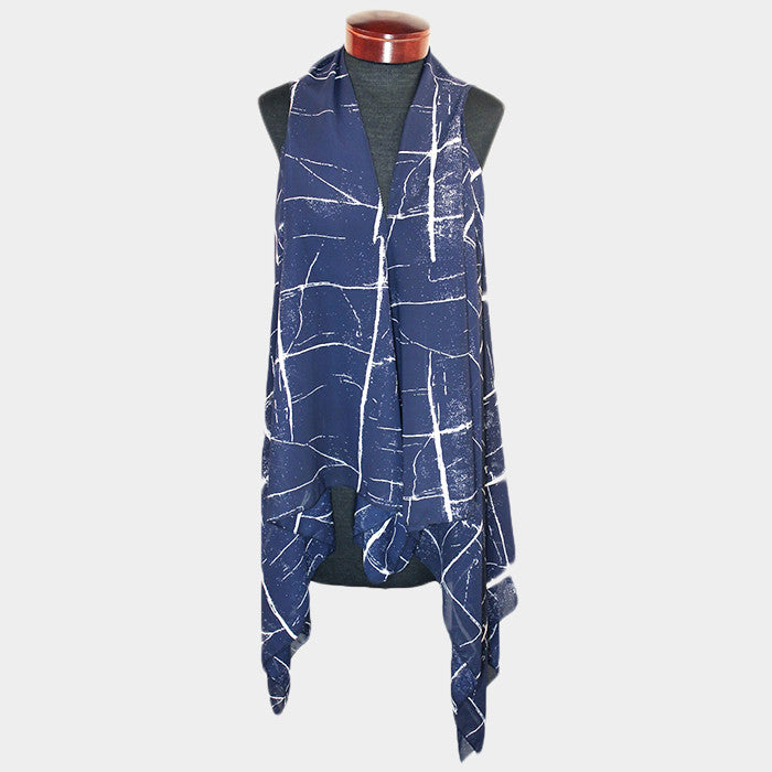 Marble Pattern Flowing Vest - Hautify