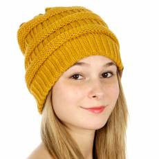 Oversized Solid Thick Knit Beanie Hat Mustard