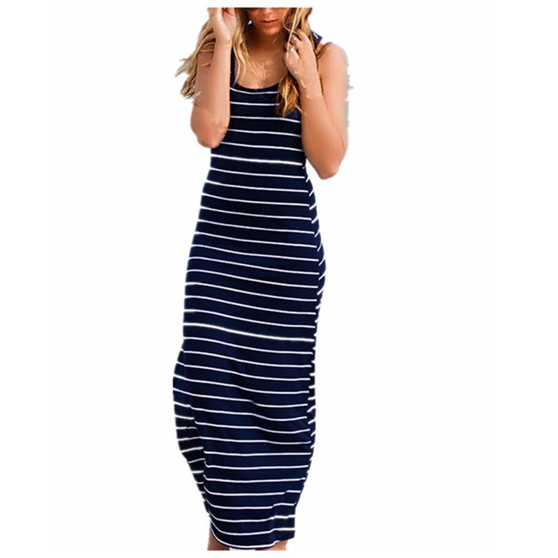 Women's Striped Racerback Maxi Dress