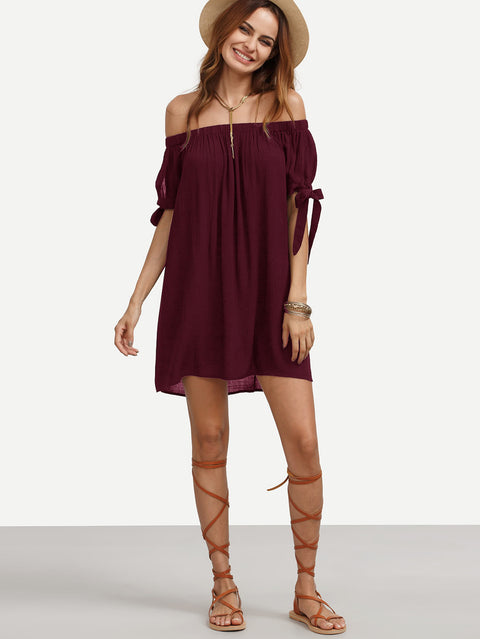 Split Self Tie Sleeve Crinkle Off Shoulder Shift Dress - Hautify