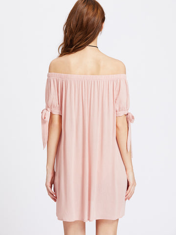 Split Self Tie Sleeve Crinkle Off Shoulder Shift Dress