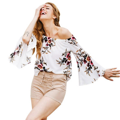 Off The Shoulder Floral Print Chiffon Women Blouse - Hautify