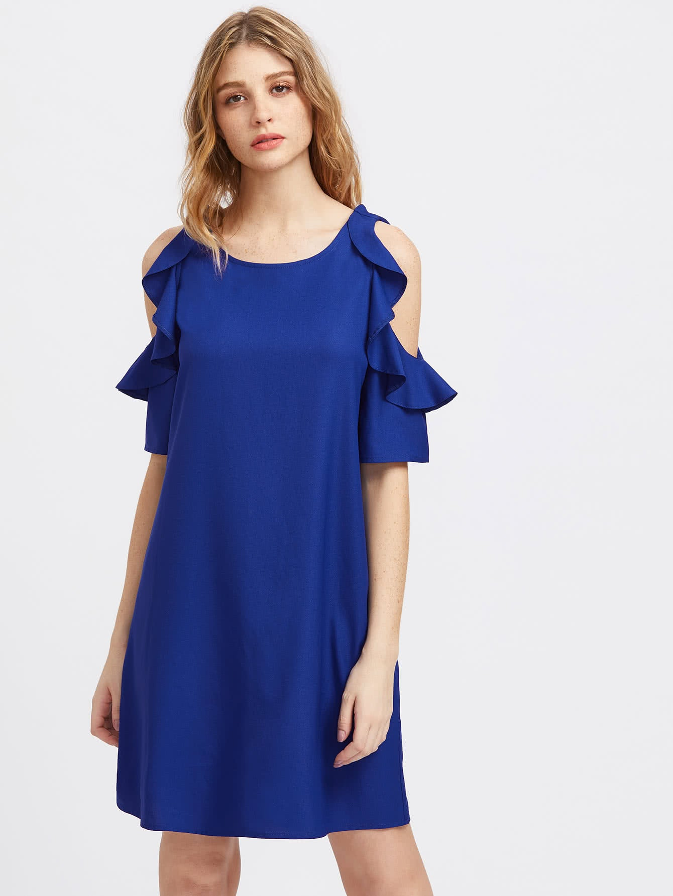 Frilled Open Off Shoulder Dress