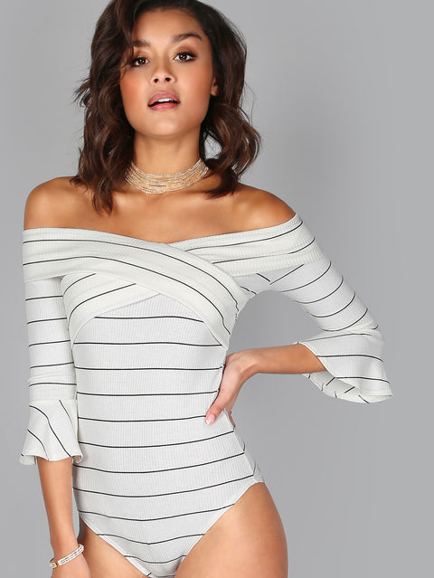 Pinstripe Cross Front Off The Shoulder Bodysuit - Hautify