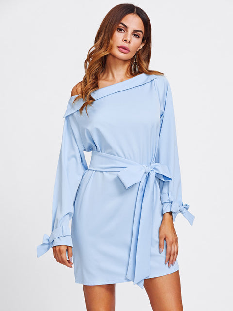 Off The Shoulder Belted Cuff And Waist Dress - Hautify