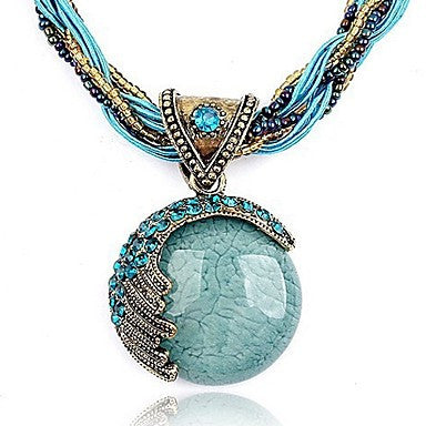 Round Crystal Rhinestone Fashion Bohemian Necklace Pendant