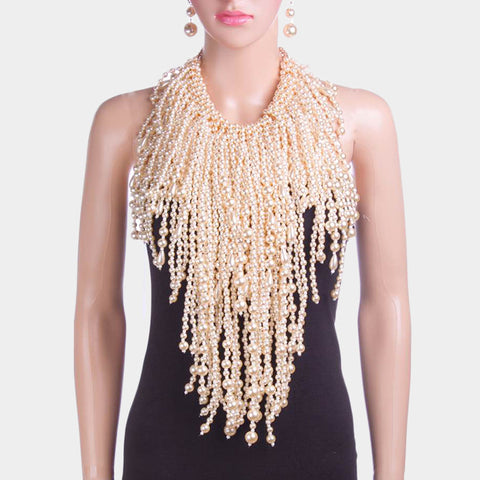 Pearl Fringe Bib Necklace - Hautify